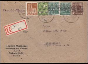 Band-Netz-Frankatur auf R-Brief Not-R-Zettel GOCH 9.9.1948 nach DÜSSELDORF 9.9.