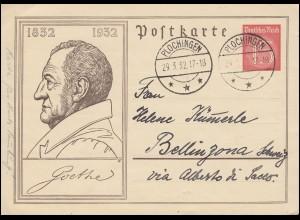 P 214 Todestag Wolfgang von Goethe 12 Pf. rot, PLOCHINGEN 29.3.1932
