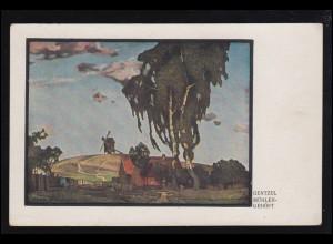 Künstler-Ansichtskarte Gentzel: Mühlengehöft, Feldpostkarte 4.8.1918
