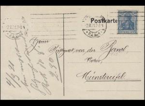 144 II Germania 30 Pf. Postkarte Hypothekenbank STUTTGART 2.3.21 n. Münstereifel