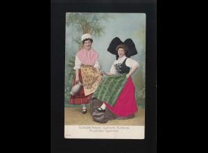 Textil - Elsässer Tracht Costume Alsacien Schürzen Dirndl Haube, ungebraucht