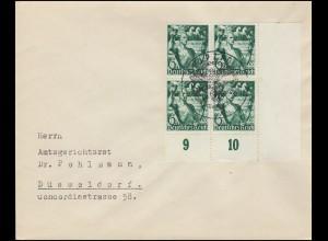 660 Machtergreifung: Viererblock auf Brief passender SSt LEIPZIG 30.1.38
