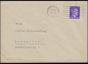 Luxemburg Hitler-EF 6 Pf. Orts-Brief ARELUX Kohlenhandlung LUXEMBURG 1.10.42