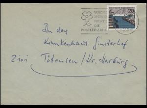 418 Kiel, EF Brief Werbestempel Vergiss mein nicht die Postleitzahl Kiel 2.11.64