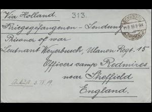 Kriegsgefangenensendung SCHWERIN 14.8.1919 an ein Offizierslager bei Sherffield