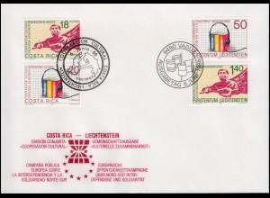 Liechtenstein 945-946 mit Costa Rica: Zusammenarbeit - beide auf FDC 6.6.1988