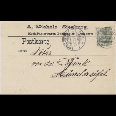 Germania 5 Pf. EF Postkarte Papierwaren Michels SIEGBURG 2.10.05 n. Münstereifel