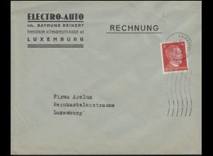 Luxemburg Hitler-EF 8 Pf. Orts-Brief Electro-Auto LUXEMBURG 17.9.42