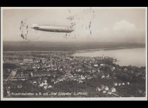 Luftbild-Ansichtskarte Friedrichshafen a.B. mit Luftschiff Graf Zeppelin, 1.6.34