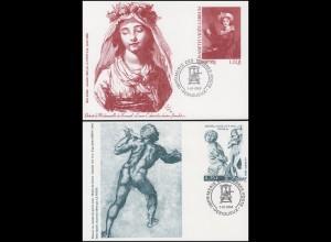 3 Sonderpostkarten Gemälde und Skulpturen 2003 / 2004 / 2005 mit Sonderstempel