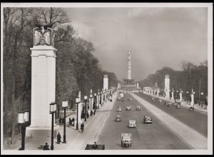 Ansichtskarte Ost-West-Achse mit Siegessäule, EF Berlin Rotes Kreuz 11.3.41
