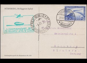 Zeppelinpost 1. Südamerikafahrt 1931 mit 423 2 RM, FRIEDRICHSHAFEN 29.8.31