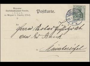 Germania 5 Pf. EF Postkarte Darlehenskassen-Verein zu Weyer EISERFEY 26.1.11