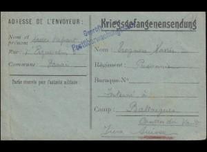 Kriegsgefangenensendung Geprüft ... Postüberwachungsstelle, geschrieben 14.5.18