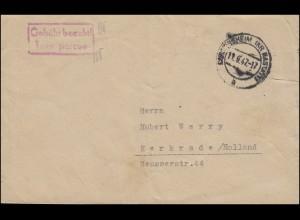Gebühr-bezahlt-Stempel auf Brief DURMERSHEIM (KS RASTATT) 11.9.47 n. Holland