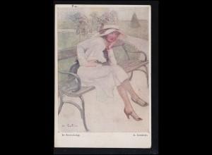 Künstler-Ansichtskarte A. Leutner: In Erwartung, gelaufen 1921