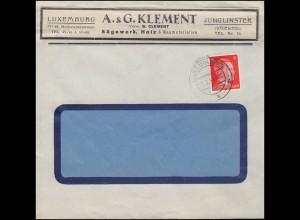 Luxemburg Hitler-EF 8 Pf. Rechnung Sägewerk Holz Clement Luxemburg, Bf. Tages-O