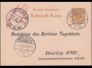 Rohrpostkarte RP 8 Adler BERLIN W 6 - 31.10.93 zu BERLIN P12 (R16) 31.10.