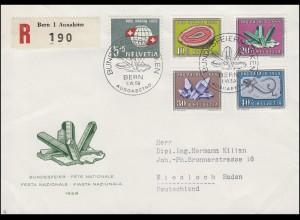 Schweiz 674-678 Pro Patria Mineralien, Satz auf Schmuck-R-FDC ESSt BERN 1.6.1959