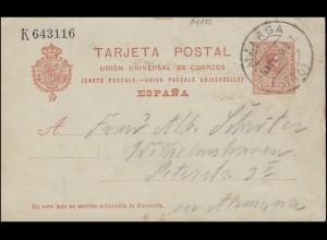 Spanien Postkarte P 48 I. König Alfons von MALAGA 10.11.10 nach Wilhelmshafen