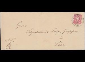 33 Ziffer 10 Pfennige auf Brief Einkreisstempel NEERMOOR 2.7.1878 nach Leer