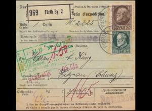 102+104 König Ludwig auf Auslands-Paketkarte FÜRTH 3.11.1919 nach VITZNAU 8.11.
