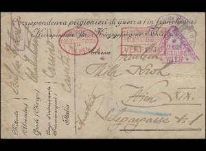 Kriegsgefangenenpost Italien Cassino / Caserta 11.3.1918 Rotes Kreuz Zensur Wien