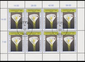 Österreich 2305 Gartenschau in Graz 2000, Kleinbogen Tagesstempel WIEN 2.6.2000