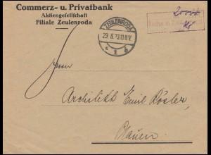 Infla-Notausgabe Gebühr-bezahlt-Stempel auf Briefstück ZEULENRODA 29.8.23