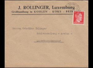 Luxemburg Hitler-EF 8 Pf Kohlenhandel Koks Briketts Orts-Brief LUXEMBURG 1942