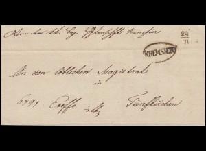 Österreich Faltbrief Ovalstempel KREMSIER 24.7.1850 nach Fünfkirchen