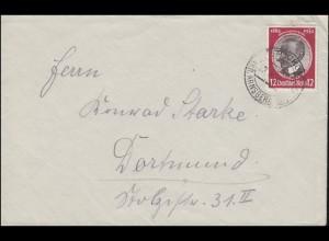 542 Kolonialgedenkfeier 12 Pf als EF Fern-Brief STOCKUM KR. ARNSBERG 23.8.1934
