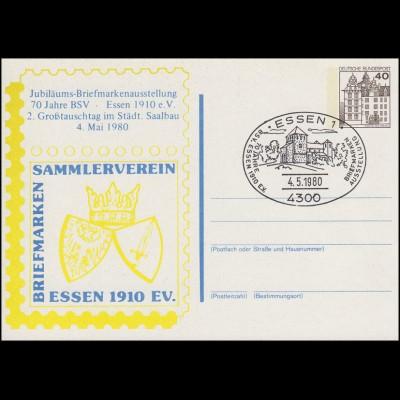 Postkarten-Zudruck Ausstellung 70 Jahre BSV Essen Saalbau, SSt Essen 4.5.1980