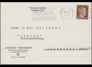 Luxemburg Hitler-EF 3 Pf. Orts-Drucksache Kohlenhandel ARELUX, LUXEMBURG 7.6.43