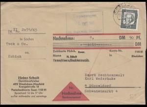 360y Beethoven 70 Pf als EF Nachnahme-Brief DINSLAKEN 19.10.1965 nach Düsseldorf