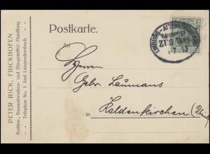 Bahnpost LIMBURG - ALTENKIRCHEN (W.) Juli 1913 auf Postkarte EF Germania 5 Pf.