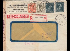 Belgien Zensur-R-Brief FARCIENNES 1.8.1944 Wappen-Leopold-MiF nach TEGELEN 11.8.