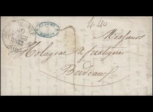 Frankreich Vorphilatelie NARBONNE 30.5.1842 nach BORDEAUX 1.4.1842