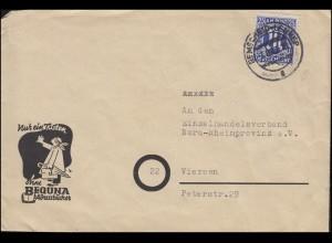 9 AM-Post 25 Pf EF Brief BEQUNA-Adressbücher REMSCHEID-LENNEP 7.6.46 n. Viersen