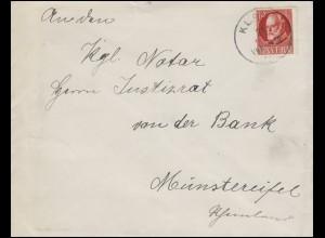 96 Ludwig III. 10 Pf. als EF auf Brief Einkreisstempel KLAIS nach Münstereifel