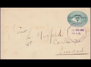 Guatemala Ganzsache Umschlag 5 C. Aufdruck, GUATEMALA 24.12.1895 nach Ciudad