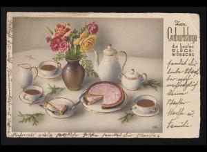 46 Ziffer 2mal 5 Pf MeF Postkarte Bronzewaaren & Zinkguss BERLIN 42 - 4.3.93