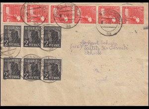 Währungsreform Zehnfachfrankatur 934ff Kontrollrat MiF Brief PLAUEN/VOGT. 1.7.48