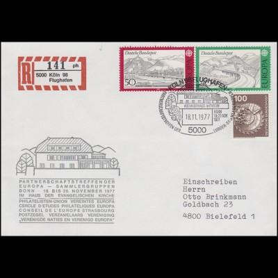 934-935 Europa 1977, R-Brief gedruckter R-Zettel SSt Köln Adenauerhaus 18.11.77