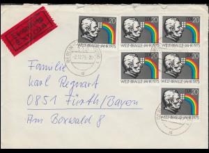 DDR 2090 Blindenschrift Welt-Braille-Jahr Eil-Brief BERLIN-SCHÖNEBERG 2.12.75