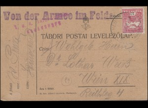 Feldpostkarte Von der Armee im Felde, Ungarn 60A TEREGOVA 28.11.1918 nach Wien