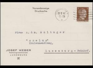 Luxemburg Hitler-EF 3 Pf. Orts-DS Kohlenhandel LUXEMBURG-Maschinen-O 23.12.42