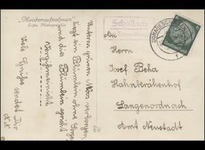 Landpost Schollach über DONAUESCHINGEN 22.8.1938 auf AK Liebespaar