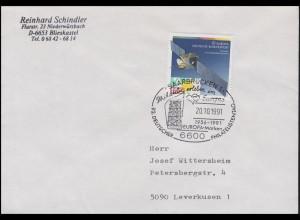 1527 EUROPA Weltraumfahrt, EF Brief SSt Saarbrücken Europa-Marken 20.10.1991