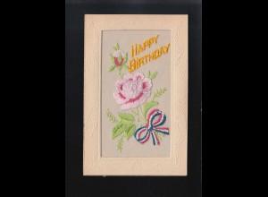 Happy Birthday gestickte rosa Blumen mit buntem Band gehalten, ungebraucht